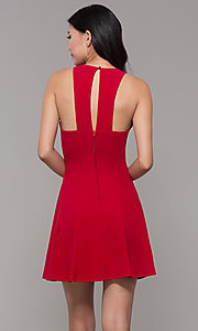 Image of short red princess-cut holiday party dress. Style: EM-FQS-3405-600 Back Image