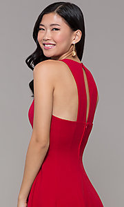 Image of short red princess-cut holiday party dress. Style: EM-FQS-3405-600 Detail Image 2