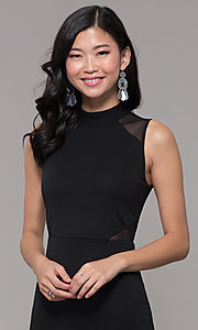 Image of high-neck black illusion-cut-out holiday party dress. Style: EM-HFA-3146-001 Detail Image 1