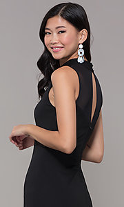 Image of high-neck black illusion-cut-out holiday party dress. Style: EM-HFA-3146-001 Detail Image 2