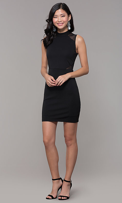 Image of high-neck black illusion-cut-out holiday party dress. Style: EM-HFA-3146-001 Detail Image 3