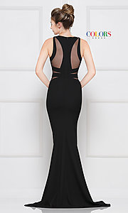 Image of trumpet long black prom dress with side cut outs. Style: CD-2049 Back Image