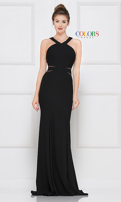 Image of trumpet long black prom dress with side cut outs. Style: CD-2049 Front Image