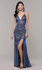 Image of long blue and silver metallic v-neck prom dress. Style: DMO-J323057 Front Image