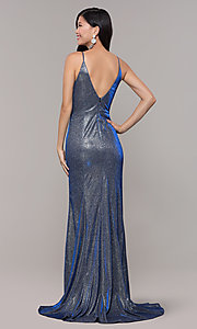 Image of long blue and silver metallic v-neck prom dress. Style: DMO-J323057 Back Image