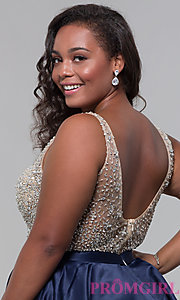 Image of homecoming plus-size v-neck short a-line dress. Style: DQ-3092P Detail Image 2