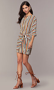 Image of three-quarter-sleeve striped short party dress. Style: EM-FZW-3907-711 Detail Image 3