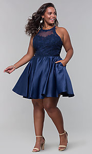 Image of plus-size short homecoming dress with lace accents. Style: DQ-3028P Detail Image 5