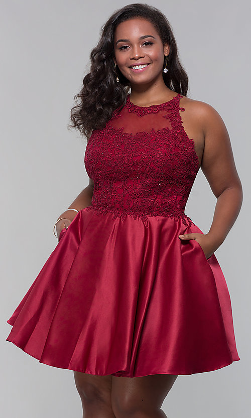 Image of plus-size short homecoming dress with lace accents. Style: DQ-3028P Front Image