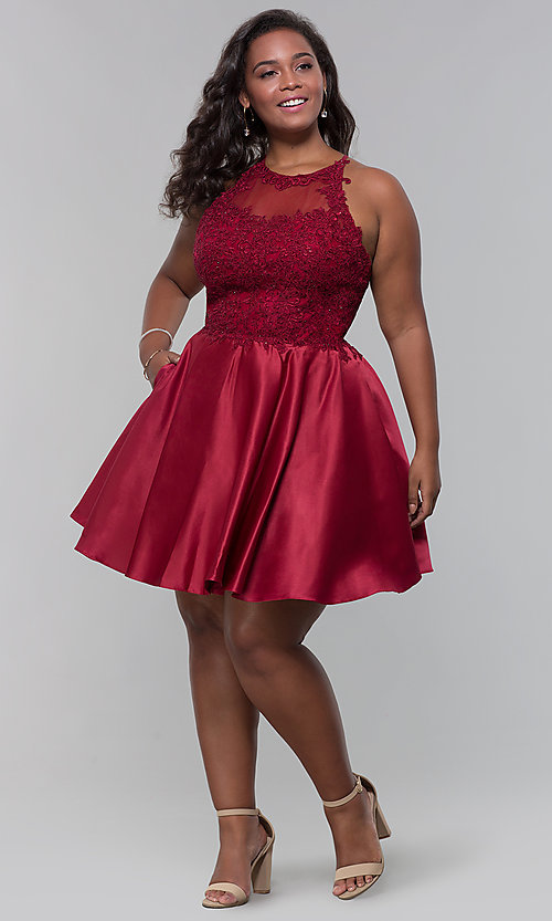 Image of plus-size short homecoming dress with lace accents. Style: DQ-3028P Detail Image 1