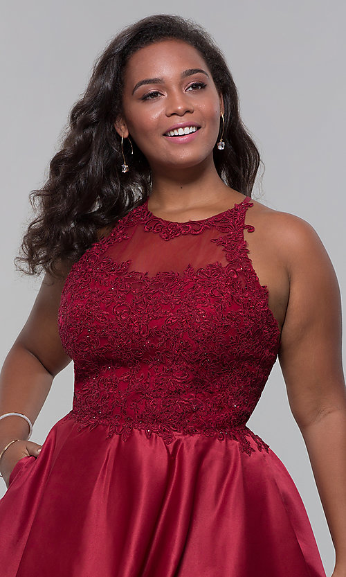 Image of plus-size short homecoming dress with lace accents. Style: DQ-3028P Detail Image 2