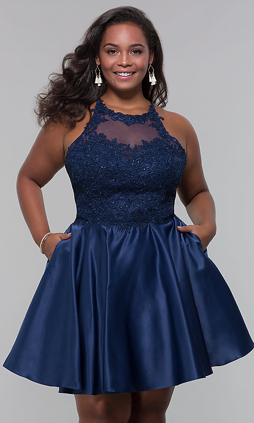 Image of plus-size short homecoming dress with lace accents. Style: DQ-3028P Detail Image 3