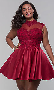 Image of high-neck lace-applique plus-size homecoming dress. Style: DQ-3069P Front Image