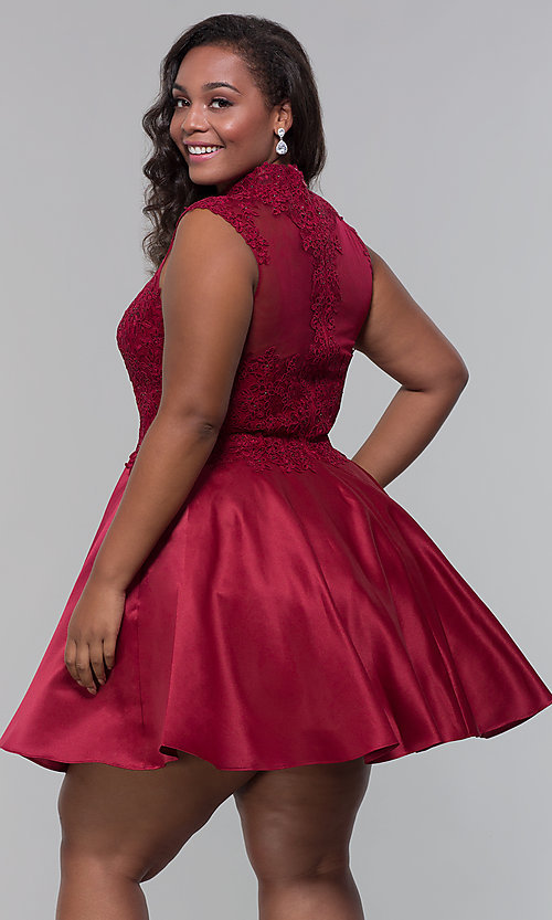 Image of high-neck lace-applique plus-size homecoming dress. Style: DQ-3069P Back Image