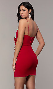 Image of short ruched faux-wrap red party dress. Style: EM-HER-3405-600 Back Image