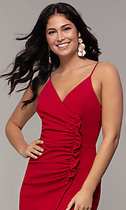 Image of short ruched faux-wrap red party dress. Style: EM-HER-3405-600 Detail Image 1