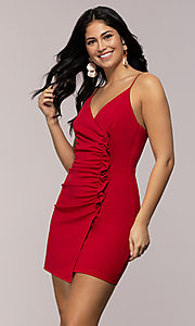 Image of short ruched faux-wrap red party dress. Style: EM-HER-3405-600 Front Image