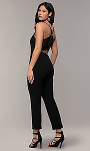 Image of cropped-leg lace-back party jumpsuit in black. Style: EM-CTZ-3405-001 Back Image