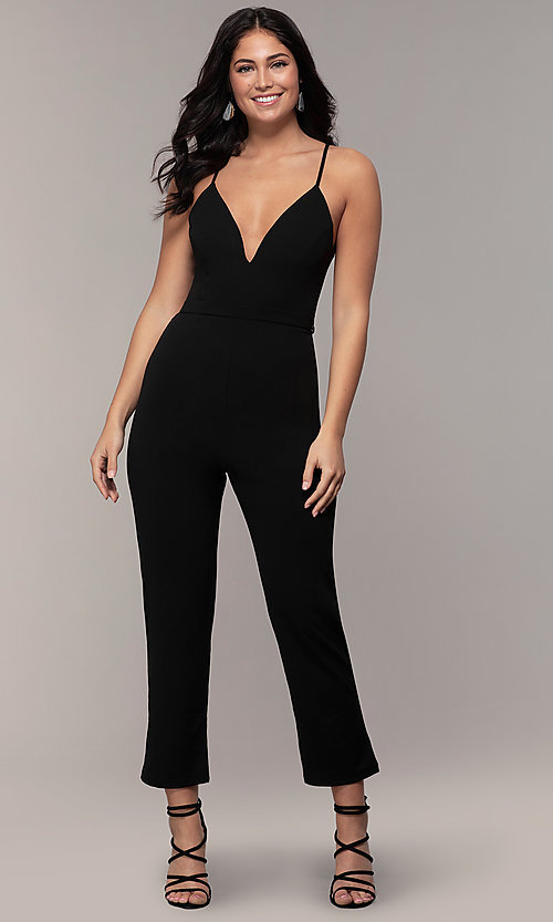 Image of cropped-leg lace-back party jumpsuit in black. Style: EM-CTZ-3405-001 Front Image