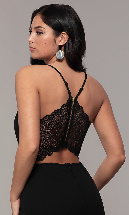 Image of cropped-leg lace-back party jumpsuit in black. Style: EM-CTZ-3405-001 Detail Image 2