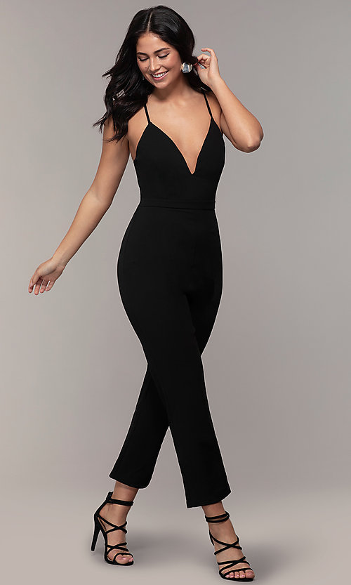 Image of cropped-leg lace-back party jumpsuit in black. Style: EM-CTZ-3405-001 Detail Image 3