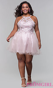 Image of high-neck short plus-size homecoming dress. Style: DQ-3004P Detail Image 3
