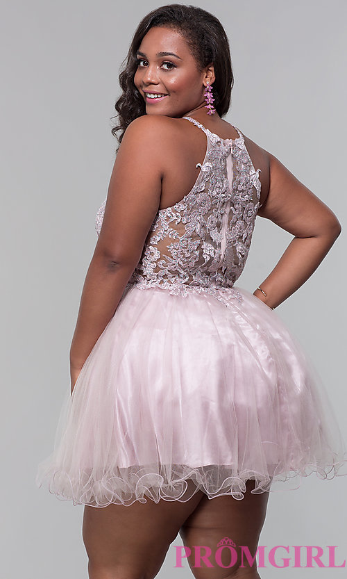 Image of high-neck short plus-size homecoming dress. Style: DQ-3004P Back Image