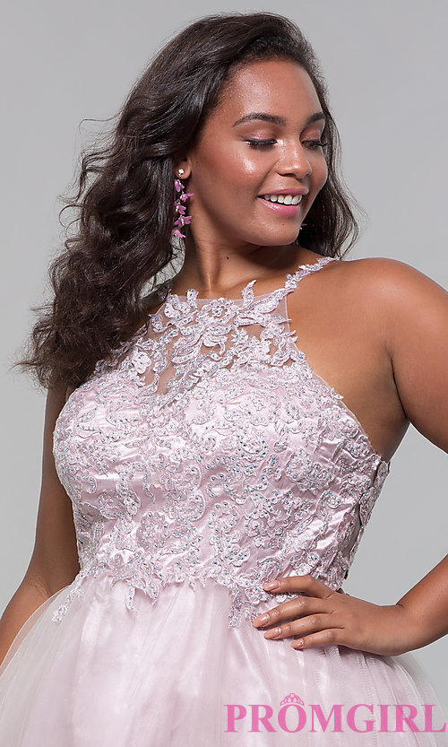 Image of high-neck short plus-size homecoming dress. Style: DQ-3004P Detail Image 1