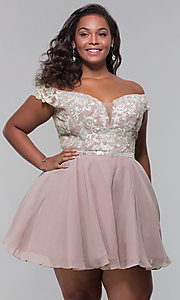 Image of off-shoulder plus-size homecoming dress by PromGirl. Style: DQ-PL-3053P Front Image