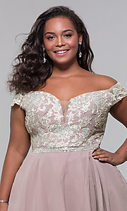 Image of off-shoulder plus-size homecoming dress by PromGirl. Style: DQ-PL-3053P Detail Image 1