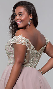 Image of off-shoulder plus-size homecoming dress by PromGirl. Style: DQ-PL-3053P Detail Image 2
