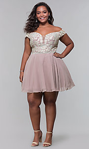 Image of off-shoulder plus-size homecoming dress by PromGirl. Style: DQ-PL-3053P Detail Image 3