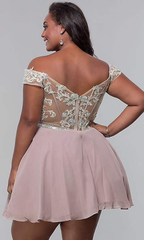 Image of off-shoulder plus-size homecoming dress by PromGirl. Style: DQ-PL-3053P Back Image
