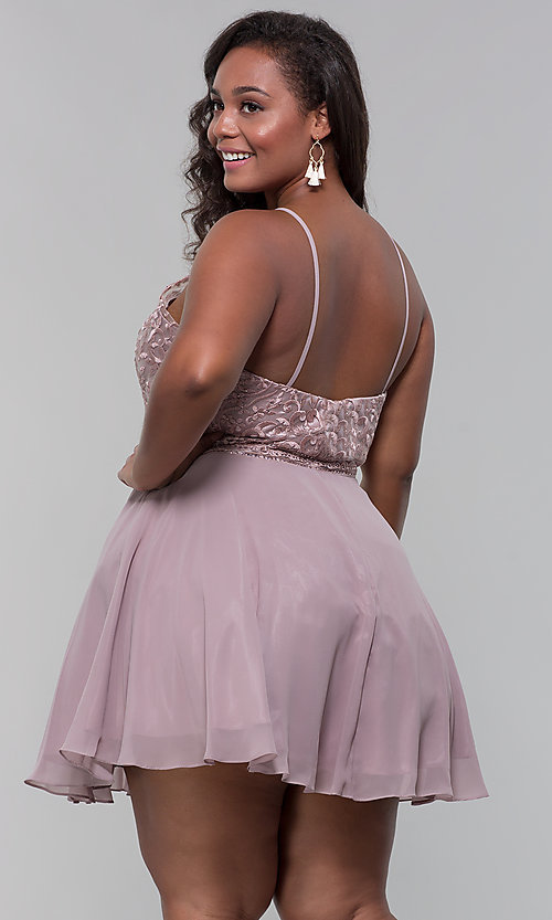 Image of high-neck plus-size homecoming dress by PromGirl. Style: DQ-PL-3008P Back Image