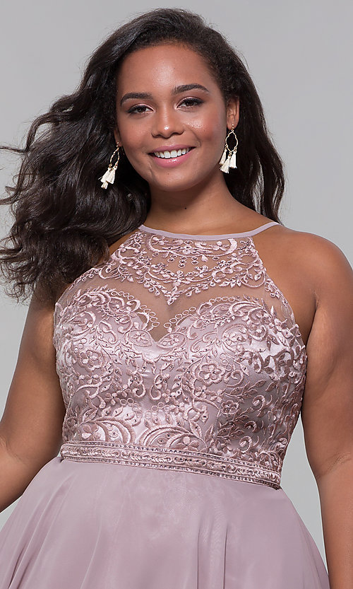 Image of high-neck plus-size homecoming dress by PromGirl. Style: DQ-PL-3008P Detail Image 1