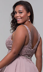 Image of plus-size short homecoming dress by PromGirl. Style: DQ-PL-3011P Detail Image 2