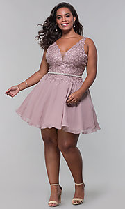 Image of plus-size short homecoming dress by PromGirl. Style: DQ-PL-3011P Detail Image 3