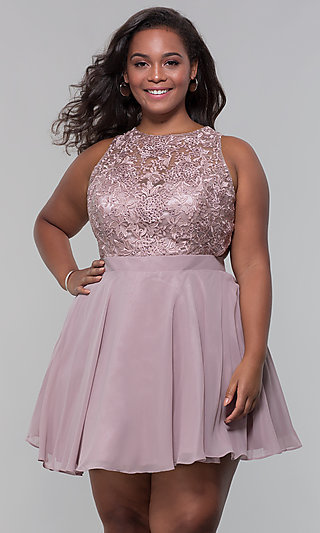 Plus Embroidered-Bodice Homecoming Dress by PromGirl