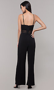 Image of black holiday party jumpsuit with adjustable straps. Style: CT-8415TP3BT3 Back Image
