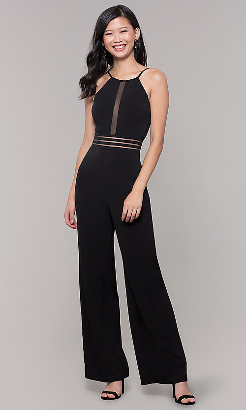 Image of black holiday party jumpsuit with adjustable straps. Style: CT-8415TP3BT3 Front Image