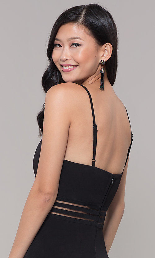 Image of black holiday party jumpsuit with adjustable straps. Style: CT-8415TP3BT3 Detail Image 2