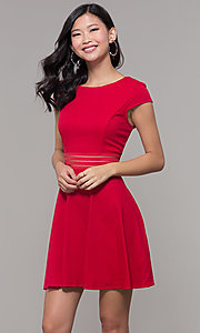 Image of red cap-sleeve short holiday party dress. Style: CT-1901JD4BT1 Front Image