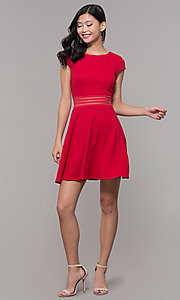 Image of red cap-sleeve short holiday party dress. Style: CT-1901JD4BT1 Detail Image 3