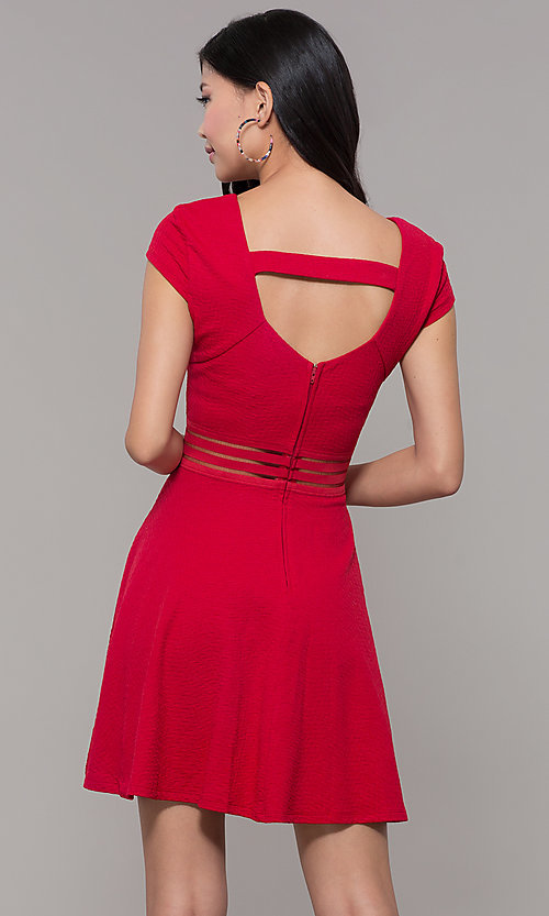Image of red cap-sleeve short holiday party dress. Style: CT-1901JD4BT1 Back Image