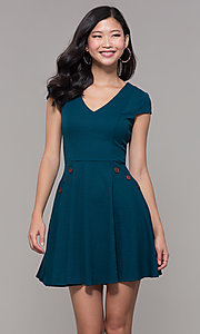 Image of short casual a-line teal blue party dress. Style: CT-1901SJ6BT1 Front Image