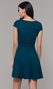 Image of short casual a-line teal blue party dress. Style: CT-1901SJ6BT1 Back Image