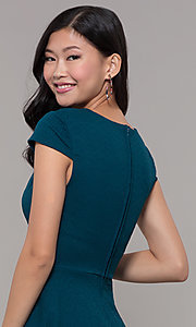 Image of short casual a-line teal blue party dress. Style: CT-1901SJ6BT1 Detail Image 2
