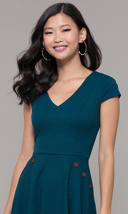 Image of short casual a-line teal blue party dress. Style: CT-1901SJ6BT1 Detail Image 1