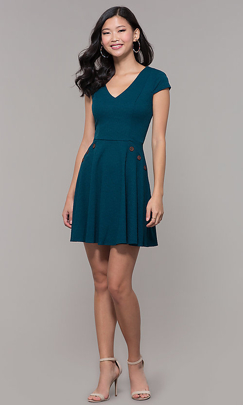 Image of short casual a-line teal blue party dress. Style: CT-1901SJ6BT1 Detail Image 3
