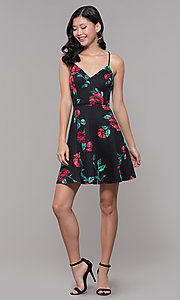 Image of short black and red print v-neck wedding guest dress. Style: CT-7202TW1ET1 Detail Image 3